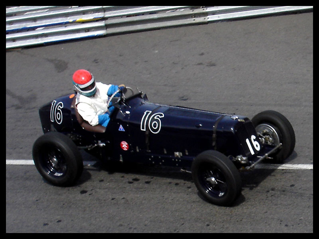Ian Landy (USA) at the Rascas driving a 1936 ERA Type B. Origonally driven by J.D.Benjafield.