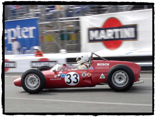 Marco Cajani in the 1961 De Tomaso Alfa Romeo.