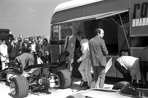 Graham Hill with the Rondel Racing team,. Before the race.