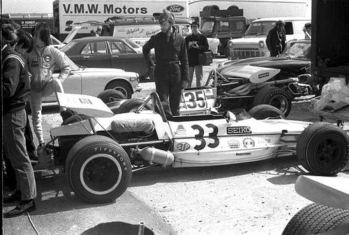 Tetsu Ikuzawa's Lotus 69 - Cosworth FVA with Johnny Blades's Lotus 59B - Cosworth FVA behind.