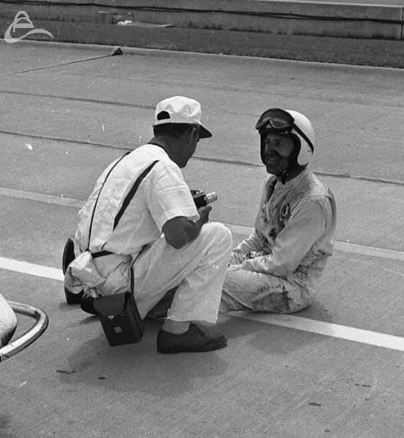 I'm not sure what Eddie Sachs' problem is in this picture taken in 1962. He finished third and went the full 200 laps, so maybe he's just exhausted! (Johnson)