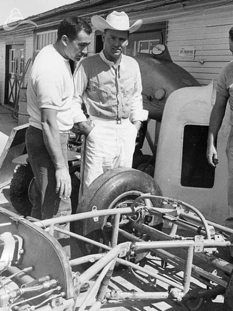 Bruce Jacobi after an encounter with Indy concrete. Note the bent right front frame. 1963 (Johnson)