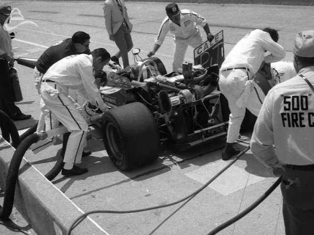 Cale Yarborough pits at Indy, 1971. (Johnson)