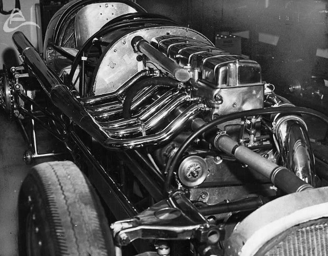 Supercharged Cummins diesel engine of #61 Jimmy Jackson, Indy, 1950. (Spicklemire)