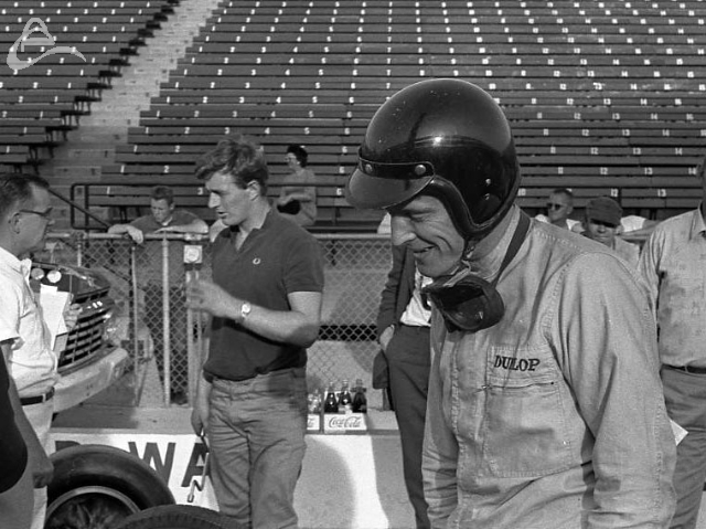 Early spring (March) testing with Dan Gurney and the Lotus. 1963. (Johnson)