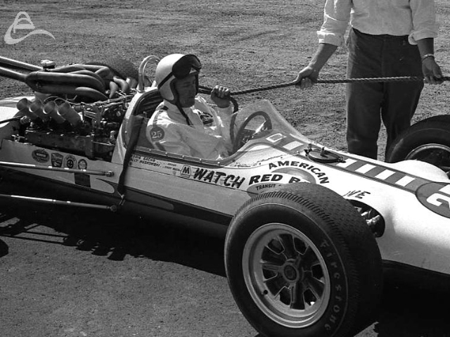 Sachs gets a tow-in, 1964. (Johnson)