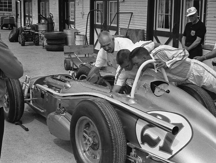 Elmer George's sled in the garage area, 1963. (Johnson)