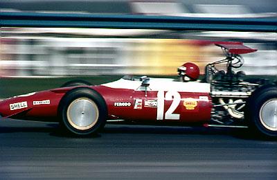 Brambilla and Ferrari F2 at Seagrave corner Thruxton