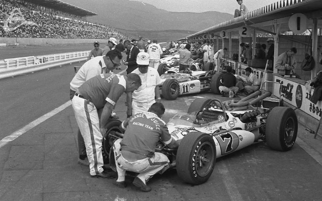 Fuji, 1966. The Vita-Fresh Team. Larry Dickson's Ford (7) and Ronnie Duman's supercharged Drake (11). (Johnson)