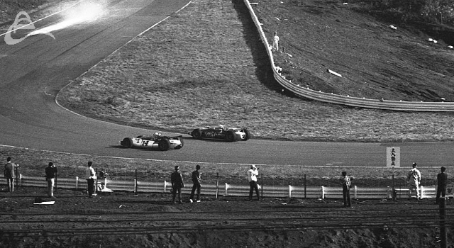 Jim McElreath and Chris Amon go through the twisty-bits at Fuji. (Johnson)