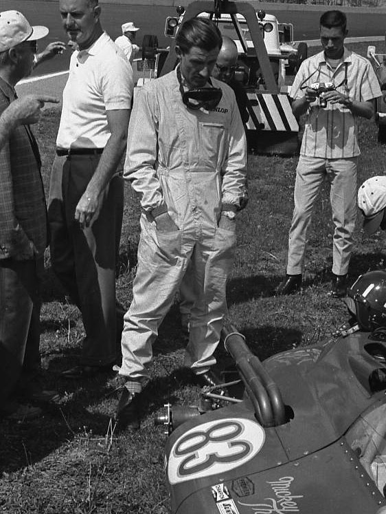Even the greats get a taste of Indy's walls. Graham Hill crashed during practice, 1963. (Johnson)