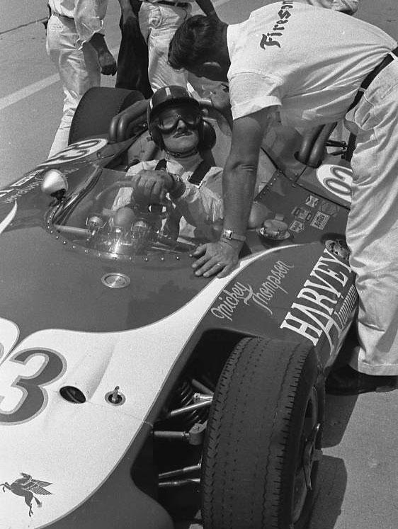 Graham Hill gets ready for a test run, 1963. (Johnson)