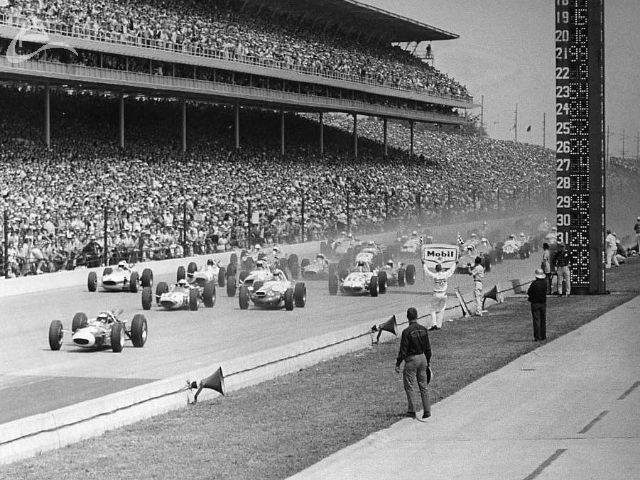 The front of the field at the start of the 1964 Indy 500. (Johnson)