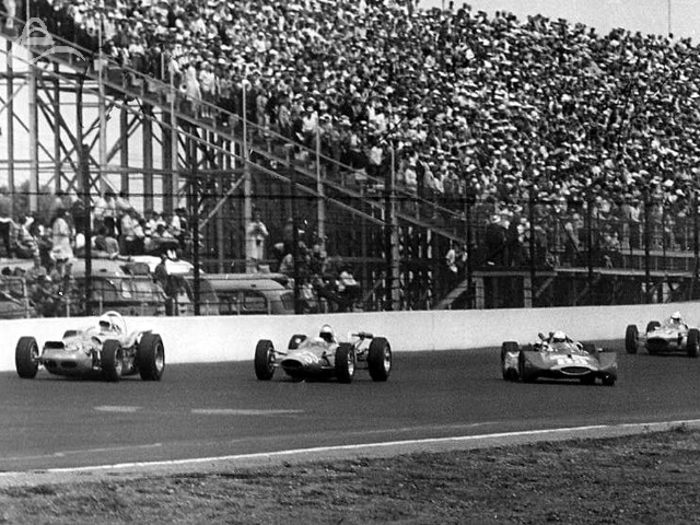 Near the back of the field, Dave MacDonald loses control at the start of the 1964 Indy 500. (Photographer Unknown)