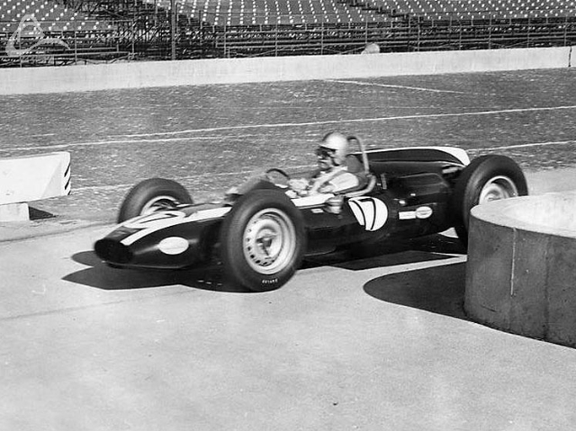 The revolution begins. 'Black Jack' Brabham in his Cooper-Climax, 1961. (Johnson)