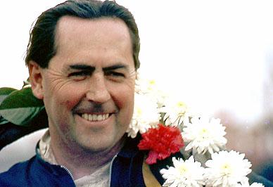 Jack Brabham with the winners garland