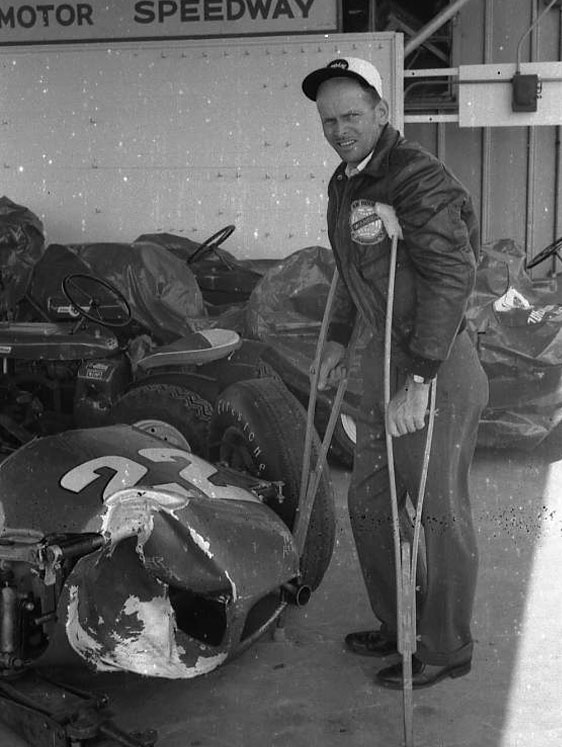 Broken car and driver, Jack Turner. (Johnson)