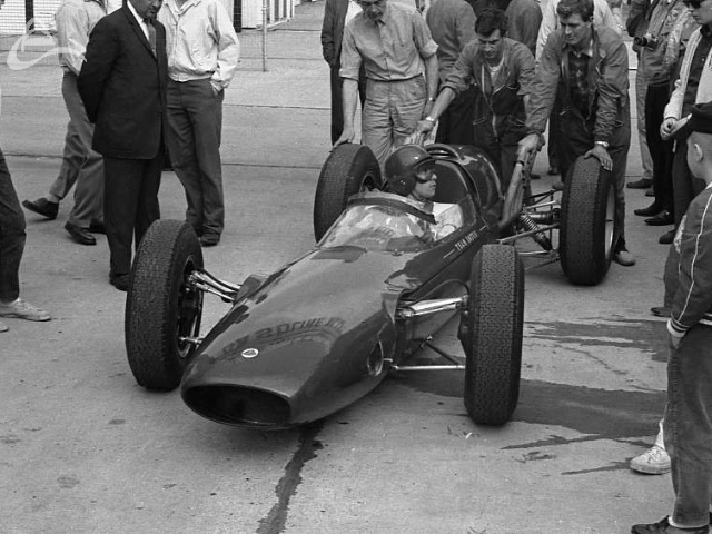 Testing, March 1963. Jim Clark in the Lotus. (Johnson)
