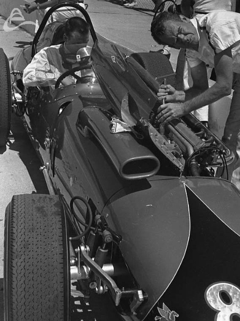 Johnny Rutherford, 1964. Note the huge air intake! (Johnson)