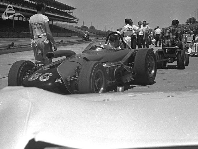 Johnny Rutherford, 1964. More air means more POWER! (Johnson)