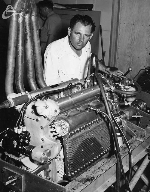 3-time Indy winner Louis Meyer tests his latest creation a 176 c.i.d. supercharged Offy at his Los Angeles shop in 1950 (L.E. Evans Agency)