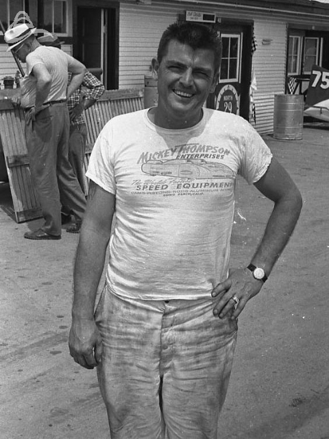 Mickey Thompson in the garage area, 1962. (Johnson)