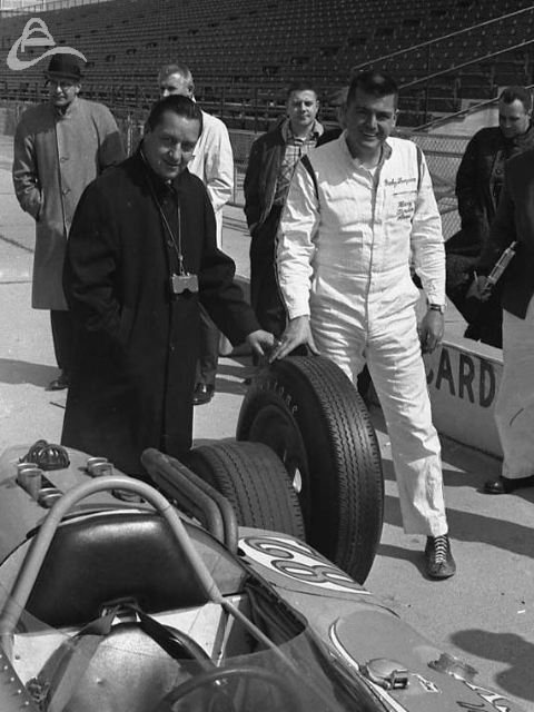 Testing, March 1963. Firestone bigshot Bill McCrary and Mickey Thompson compare tires. (Johnson)