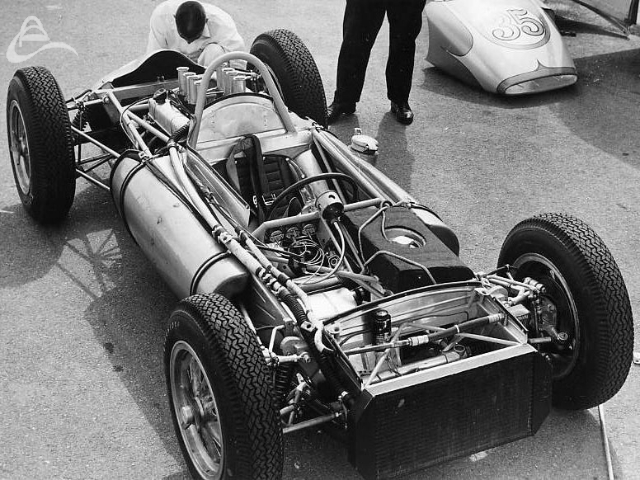 Mickey Thompson prepares to test his secret new rear-engined Indy car at Riverside, California. (Photographer Unknown)