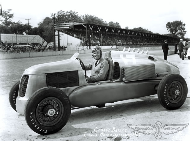 George Bailey in the rear engine four wheel drive Miller Special at the Indianapolis Motor Speedway in 1939. He qualified 8th but retired after 47 laps.
