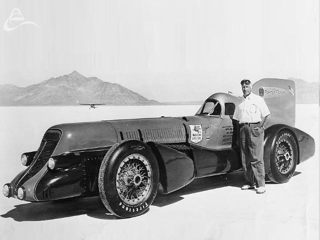 Ab Jenkins and the Mormon Meteor 3 at the Bonneville Salt Flats. (Photographer Unknown)