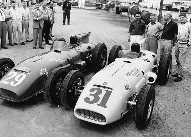 Novi team picture, 1956. #29, driven by Paul Russo, crashed while leading on lap 21. #31, driven by Jimmy Davies, did not qualify. (Indpls. Times)