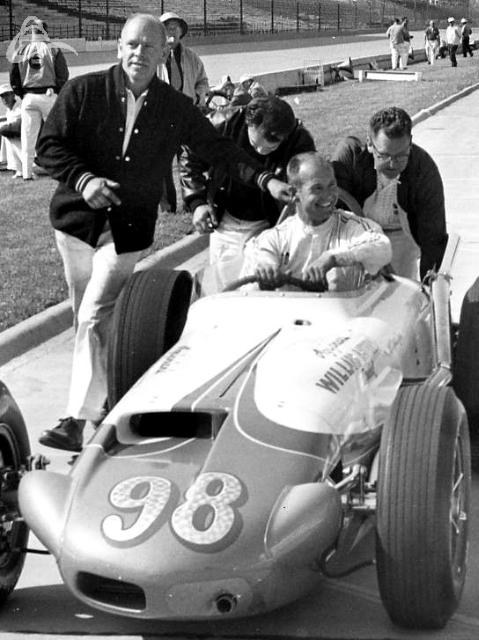 Parnelli Jones after setting a new one-lap record speed of 150.370 mph. 1962 (Photographer Unknown)