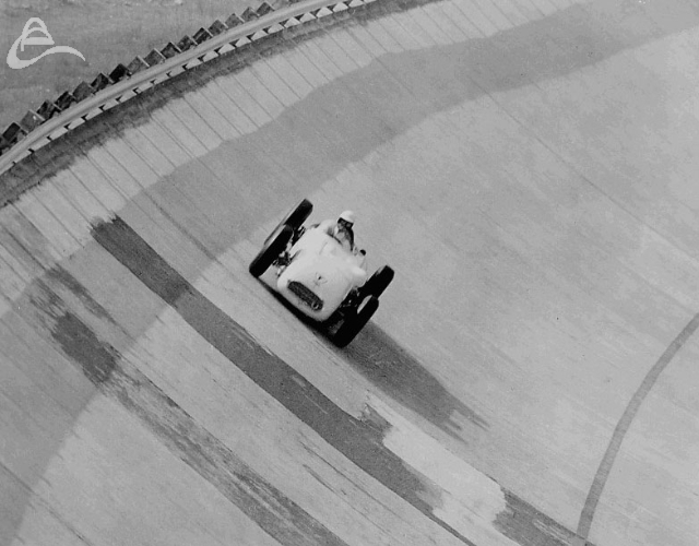In April 1957, Pat O'Connor, a USAC superstar of the day, came to Monza for tire testing with Firestone's test car. It was a conventional roadster, but fitted with a 5.5-litre V8 Chrysler engine instead of the traditional four-cylinder Offenhauser. There were no tire problems whatever, and, O'Connor ran 226 miles at an average of 163.4 mph, putting in a best lap faster than 170.
