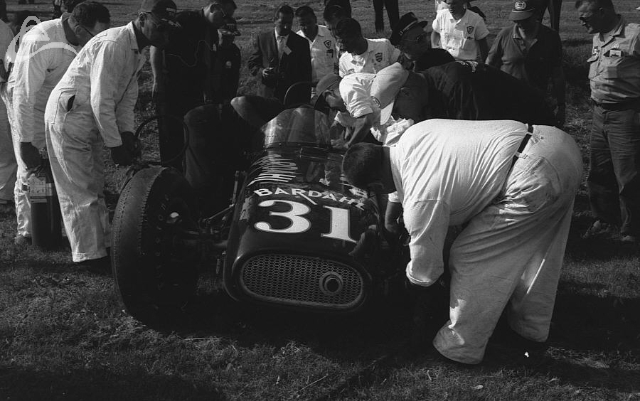 Paul Goldsmith's accident while driving Smokey Yunick's car in the 1958 Indy 500.