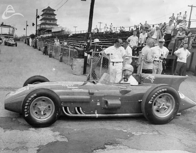 Tailfins at Indy. Paul Russo in the Novi, 1956. (Photographer Unknown)