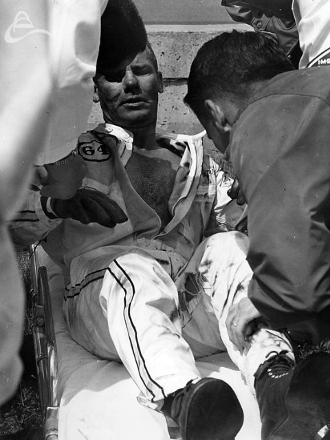 Ronnie Duman suffered burns on his upper body when he got involved in the Sachs/MacDonald crash. 1964 (Photographer Unknown)