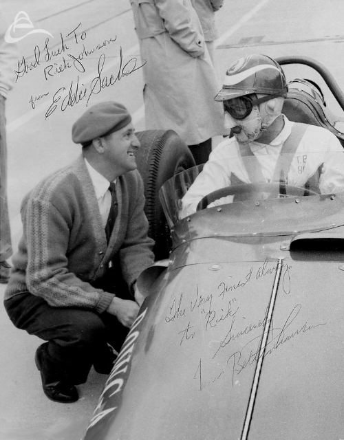 Eddie Sachs and Tony Bettenhausen, Indy, 1961. Note Tony B's mask. Autographed to Rick Johnson. (Johnson)