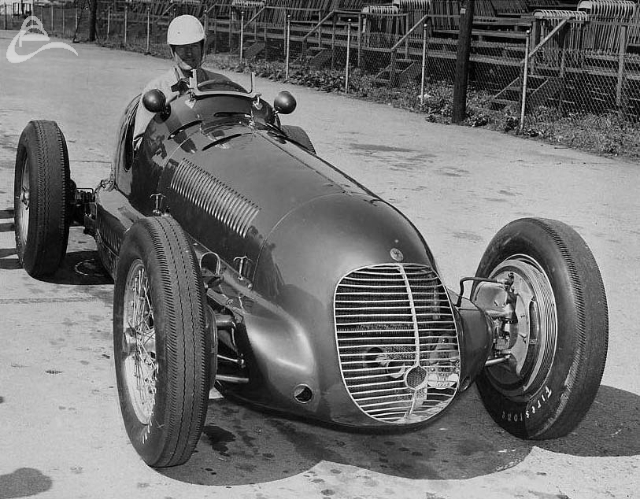 Sam Hanks in a Maserati, Indy, 1949. (Oates)