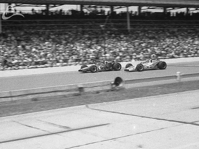 Al Unser and Joe Leonard duke it out at Indy, 1971. (Johnson)