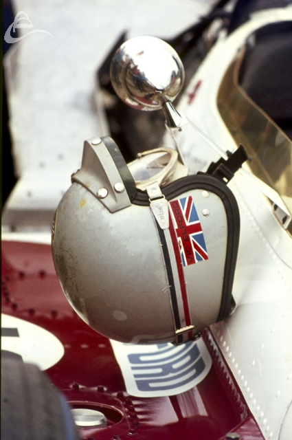 Vic Elford's Helmet, Antique Automobile's entry Mclaren Ford Silverstone 1969.