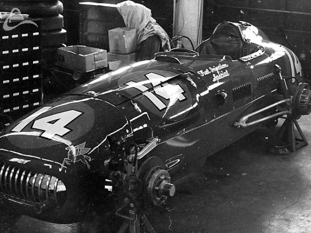 Bill Vukovich's 1953 Indy winner in the shop undergoing a rebuild. (Johnson)